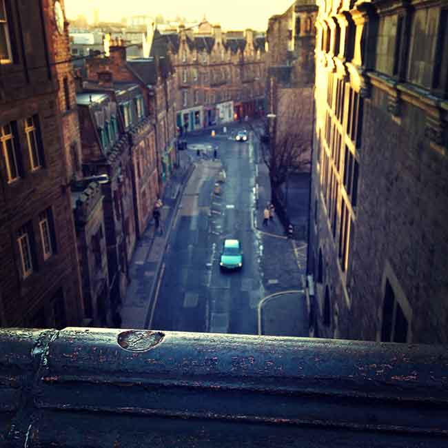 Looking down over George IV Bridge to the Cowgate